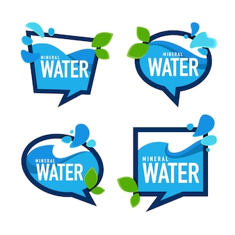Água mineral natural, emblemas de vetor, modelos de etiquetas e adesivos com gotas aqua