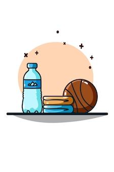 Água mineral, toalhas e basquete