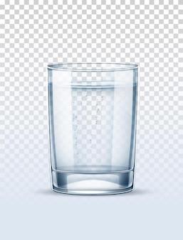 Água pura com vidro de bolhas em fundo transparente.