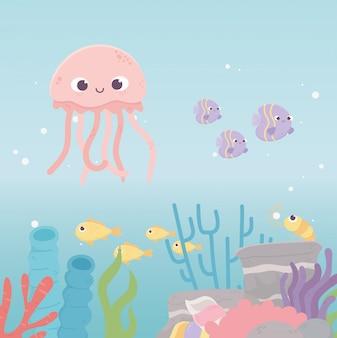 Água-viva camarão peixes vida dos desenhos animados de recifes de corais no fundo do mar