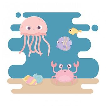 Água-viva caranguejo peixes caracol e concha vida dos desenhos animados no fundo do mar