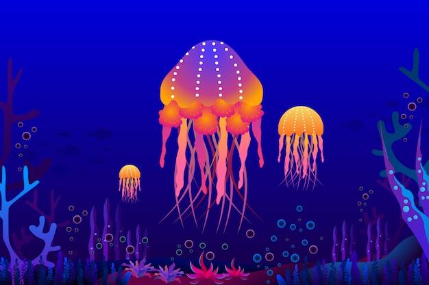 Água-viva com lindo coral sob a ilustração do mar