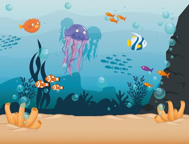 Água-viva com peixes animais marinhos selvagens no oceano, habitantes do mundo do mar, criaturas subaquáticas bonitos, conceito marinho de habitat