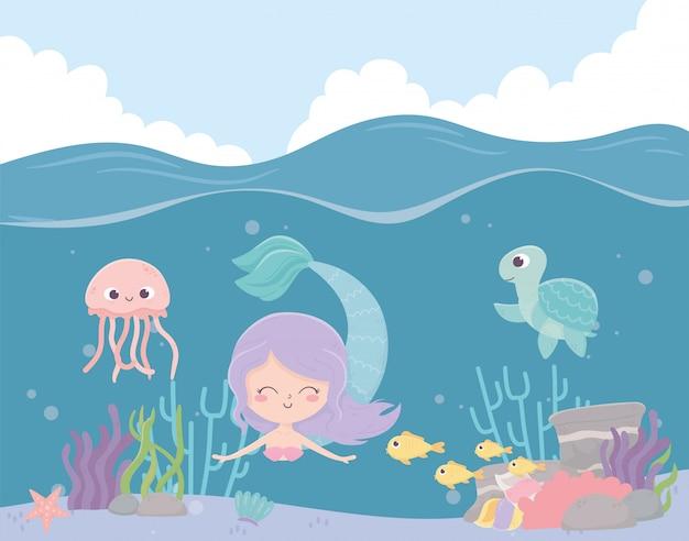 Água-viva de cavalo-marinho sereia peixes desenhos animados de recifes de corais sob a ilustração vetorial de mar