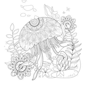 Água-viva flutuando no oceano, para colorir