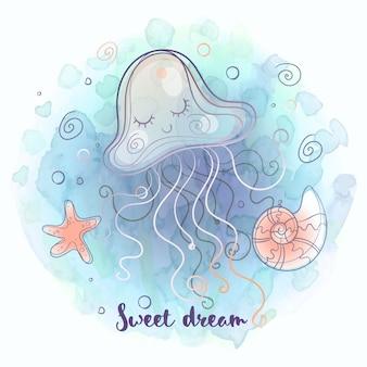 Água-viva fofa dormindo docemente ilustração