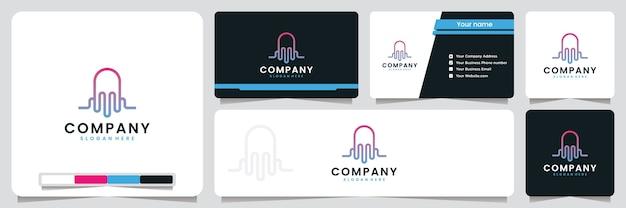 Água-viva, onda sonora, elegante, luxo, inspiração para o design de logotipo