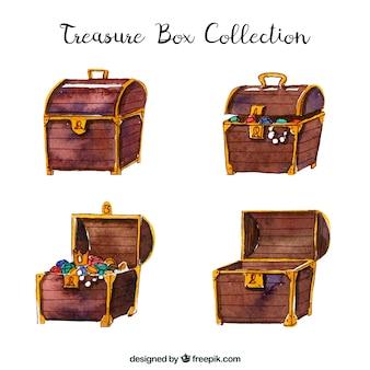 Aguarela aberta e fechada coleção caixa do tesouro