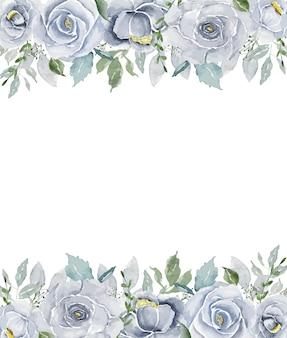 Aguarela azul claro vintage rosas linha superior e inferior com fundo de espaço aberto branco