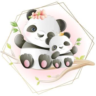 Aguarela bonito dos desenhos animados do pequeno panda com flores