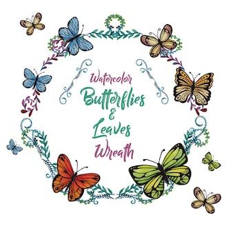 Aguarela borboletas e folhas de grinalda