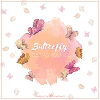 Aguarela, borboletas, fundo