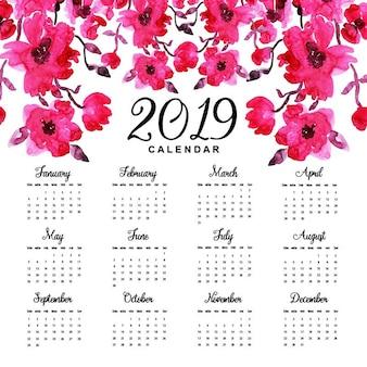 Aguarela calendário floral 2019