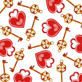 Aguarela coração shapes locks & keys background