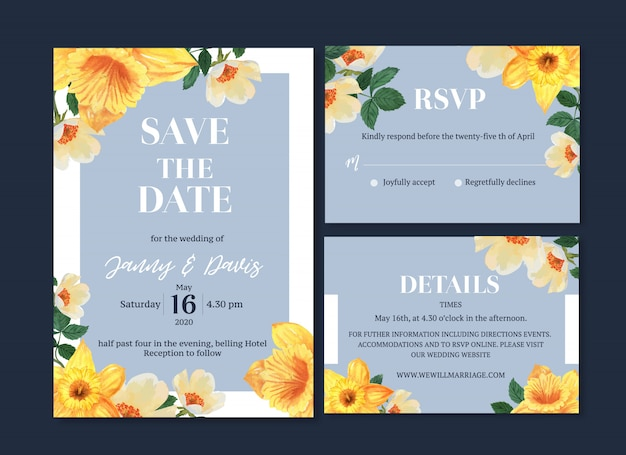 Aguarela da flor do cartão de casamento, cartão dos agradecimentos, ilustração do casamento do convite
