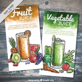 Aguarela da fruta e de produtos hortícolas folhetos suco