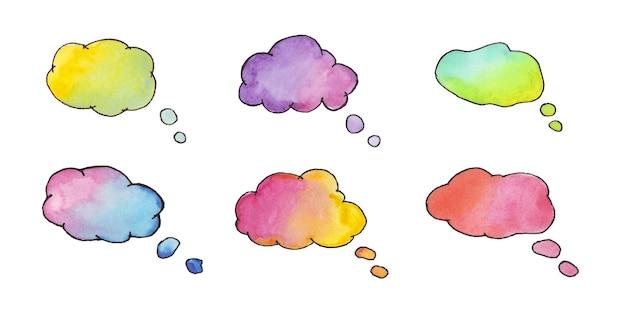 Aguarela da nuvem de diálogo definir aquarela de bolha de fala nuvem de caixa de texto de bate-papo para postagem de comentário