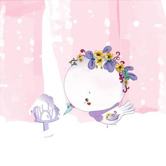 Aguarela da pintura do pássaro do doodle em floral.