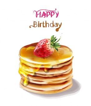 Aguarela de bolo feliz aniversário