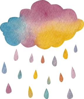 Aguarela de chuva de nuvens