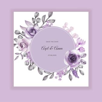 Aguarela de flor roxa de convite de casamento