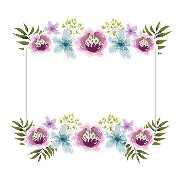 Aguarela de flores com moldura floral elegante