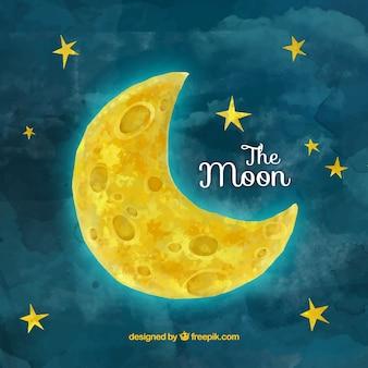 Aguarela de fundo da lua com estrelas