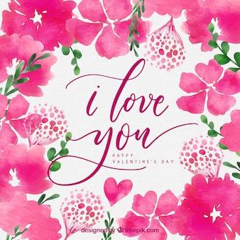 Aguarela de fundo do dia dos namorados com flores de cor-de-rosa