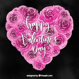 Aguarela de fundo do dia dos namorados com rosas em um coração