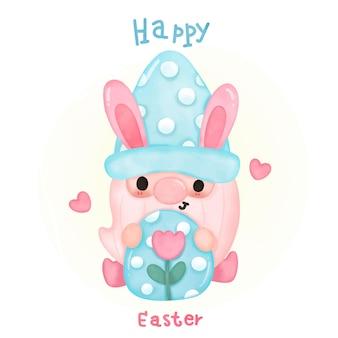 Aguarela de gnomos da páscoa segurando um ovo para o desenho animado kawaii do dia da páscoa