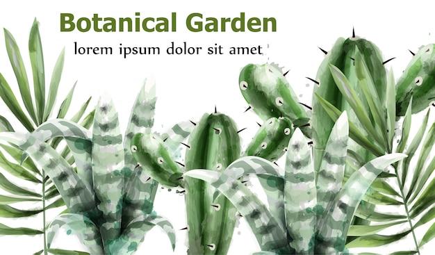 Aguarela de jardim botânico de cactos e suculentas