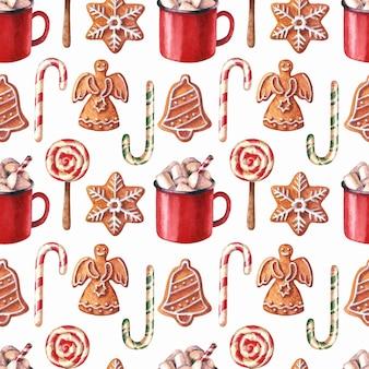 Aguarela de natal sem costura patterngingerbreadcandy canes copo de bebida quente pirulito e zéfiro