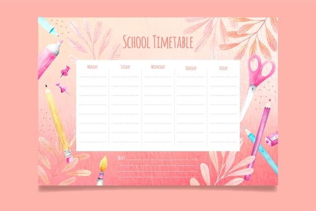 Aguarela de volta ao calendário escolar Vetor grátis