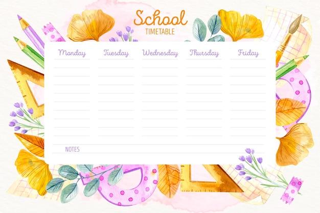 Aguarela de volta ao calendário escolar