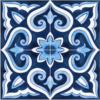 Aguarela desenhada à mão em azulejos tradicionais da sicília