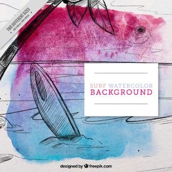Aguarela desenhada mão de fundo de surf paisagem
