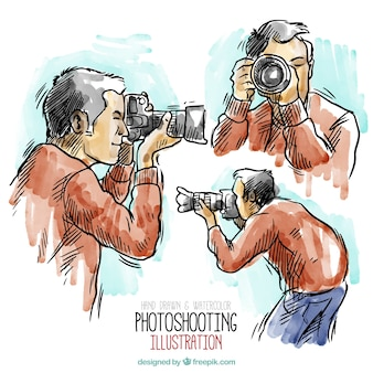 Aguarela desenhada mão fotógrafo ilustração