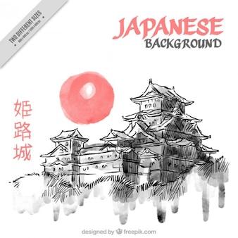 Aguarela desenhada mão fundo japonês