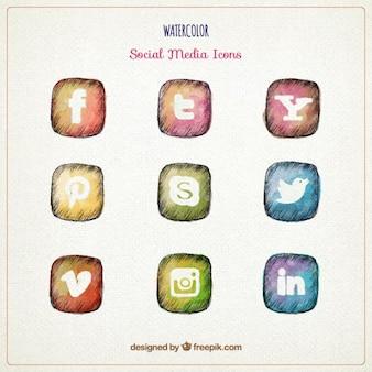 Aguarela desenhada mão ícones de mídia social