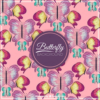 Aguarela, desenho, borboletas, fundo