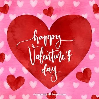 Aguarela, dia dos namorados, fundo, grande, vermelho, coração