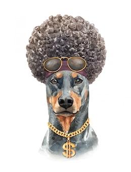 Aguarela do cão do doberman com cabelo afro.