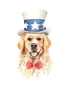 Aguarela do cão do golden retriever com traje.