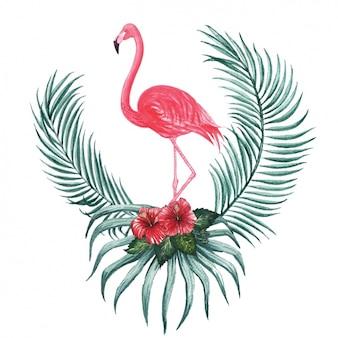 Aguarela do projeto flamingo decorativo