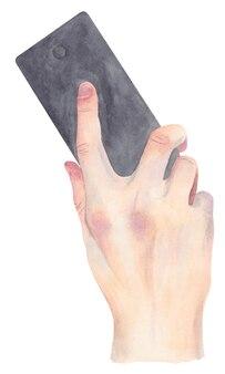 Aguarela do telemóvel na mão