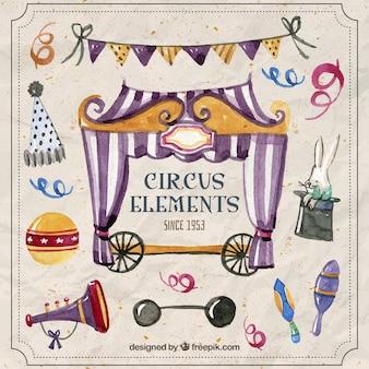 Aguarela do vintage coisas de circo