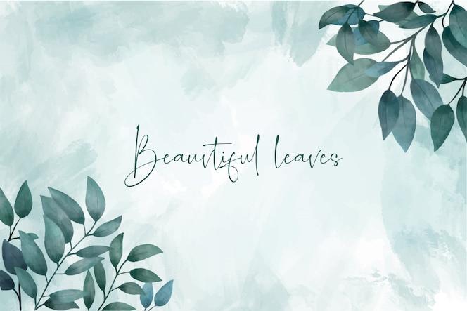 Aguarela elegante com folhas de fundo