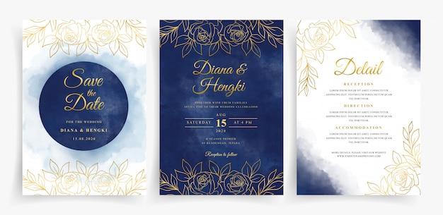 Aguarela elegante em azul marinho e linhas douradas florais em modelo de cartão de casamento
