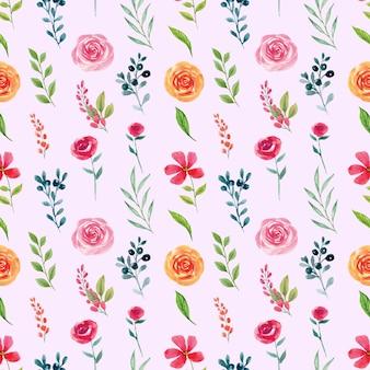 Aguarela elegante sem costura padrão primavera rosa e laranja florais