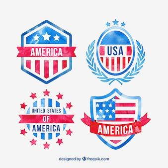 Aguarela emblemas americano